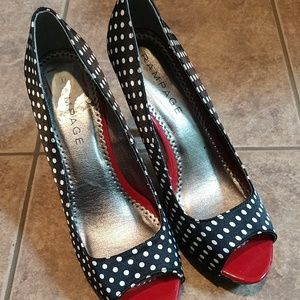 Polka dot high heels.